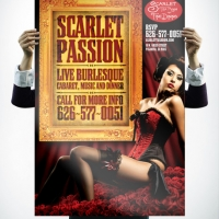 Scarlet Tea Room Burlesque Poster Design